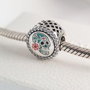 Pandora Day of the Dead Sugar Skull Charm Silver